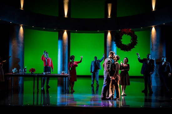 Andres Acosta as Timothy Laughlin and Hadleigh Adams as Hawkins Fuller kiss in the Christmas scene. Photo by Dan Norman