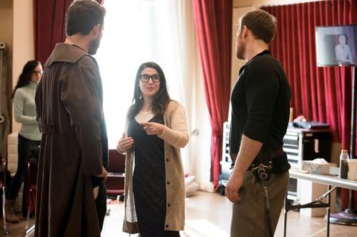 BLO Sarna Lapine (c.) discusses a scene with (l.-r.) Brandon Cedel and Duncan Rock PHOTO Liza Voll-1